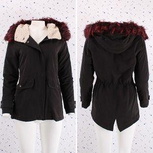 Wine Faux Fur Zip Up Hoodie Jacket Detachable Fur